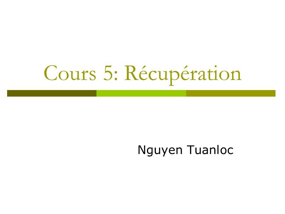CLASSIFICATION DES REPRISES REPRISE TRANSACTION ABANDON D UNE TRANSACTION EN EXECUTION ORDONNE PAR -->LA TRANSACTION (ABORT) -->LE SGBD POUR UN PROBLEME DE CONCURRENCE (DEADLOCK,...) OU VIOLATION DE CONTRAINTES REPRISE A CHAUD (SYSTEME) ==> PERTE MEMOIRE CENTRALE ==> ABANDON DE TOUTES LESTRANSACTIONS EN EXECUTION REPRISE A FROID (DISQUE) ==> PERTE MEMOIRE SECONDAIRE ==> RECONSTRUIRE LA BASE