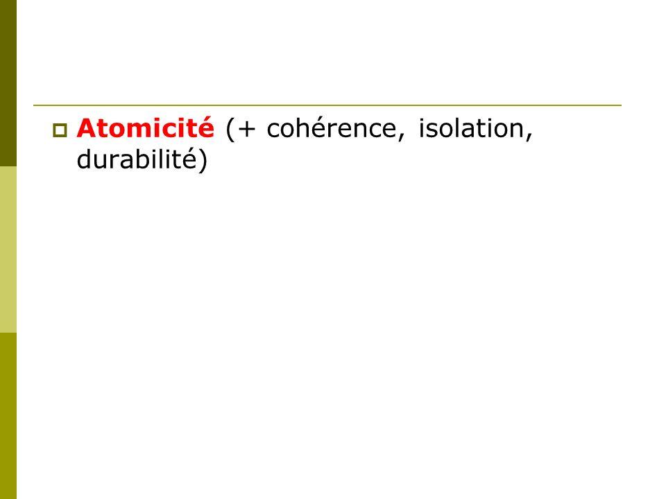 Atomicité (+ cohérence, isolation, durabilité)