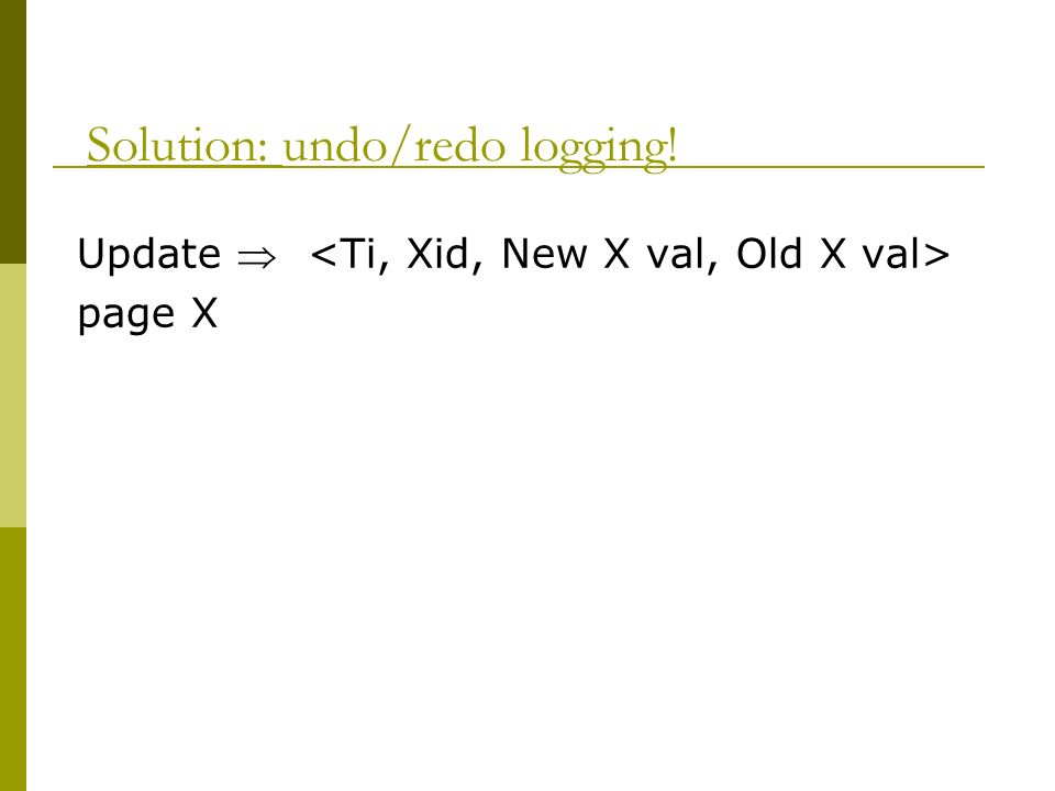 Solution: undo/redo logging! Update page X