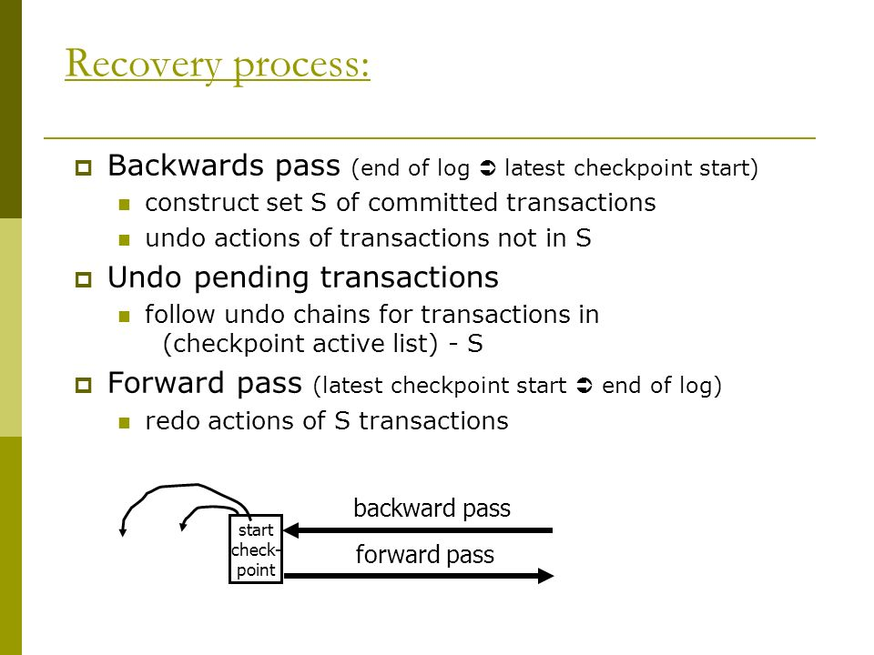 Recovery process: Backwards pass (end of log latest checkpoint start) construct set S of committed transactions undo actions of transactions not in S Undo pending transactions follow undo chains for transactions in (checkpoint active list) - S Forward pass (latest checkpoint start end of log) redo actions of S transactions backward pass forward pass start check- point