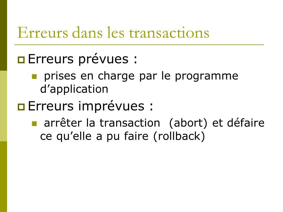 Erreurs dans les transactions Erreurs prévues : prises en charge par le programme dapplication Erreurs imprévues : arrêter la transaction (abort) et d