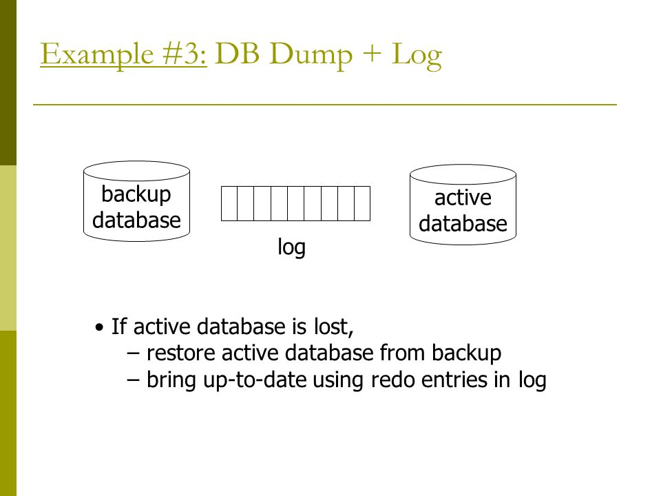 Example #3: DB Dump + Log backup database active database log If active database is lost, – restore active database from backup – bring up-to-date using redo entries in log