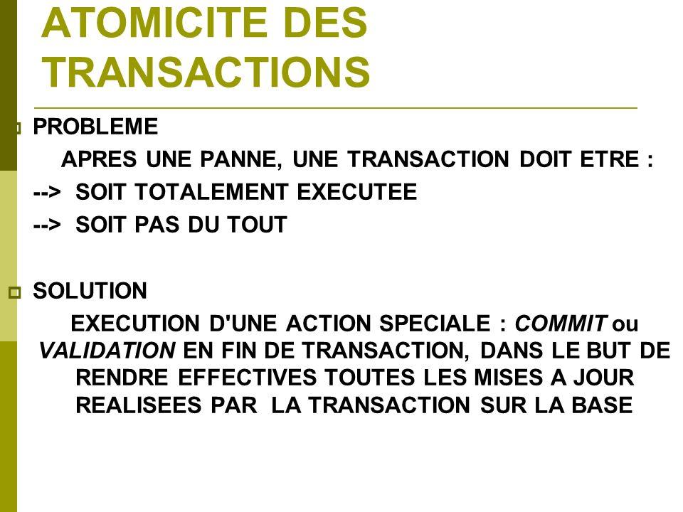 ATOMICITE DES TRANSACTIONS PROBLEME APRES UNE PANNE, UNE TRANSACTION DOIT ETRE : -->SOIT TOTALEMENT EXECUTEE -->SOIT PAS DU TOUT SOLUTION EXECUTION D'