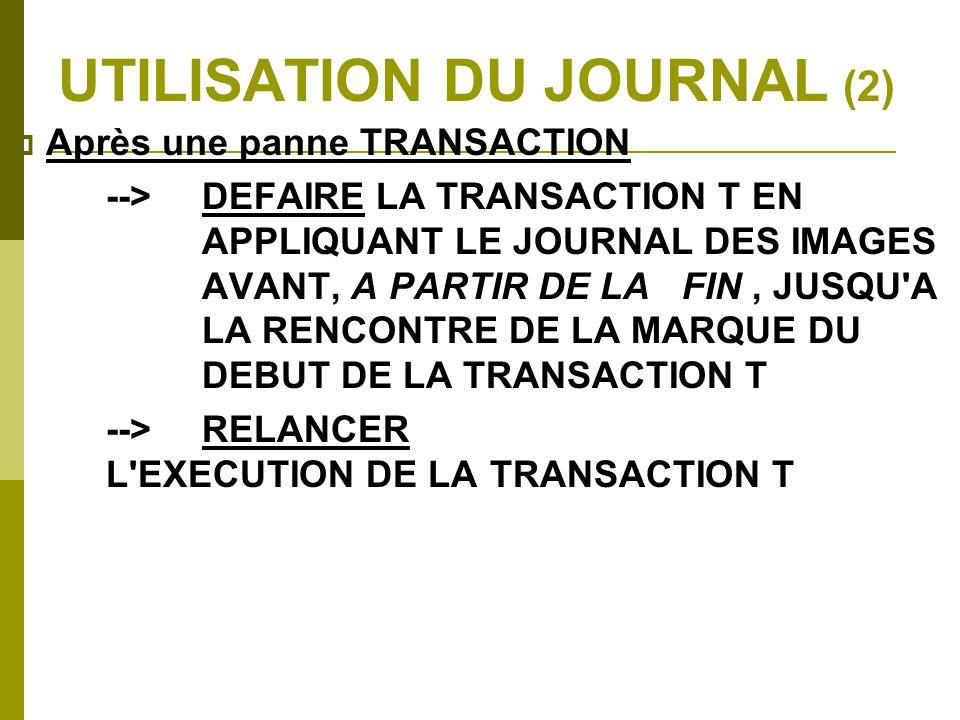 UTILISATION DU JOURNAL (2) Après une panne TRANSACTION -->DEFAIRE LA TRANSACTION T EN APPLIQUANT LE JOURNAL DES IMAGES AVANT, A PARTIR DE LA FIN, JUSQ