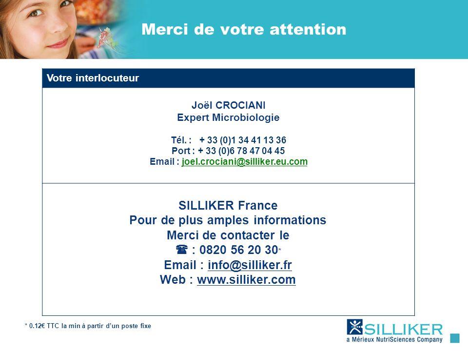 Merci de votre attention Votre interlocuteur Joël CROCIANI Expert Microbiologie Tél. : + 33 (0)1 34 41 13 36 Port : + 33 (0)6 78 47 04 45 Email : joel
