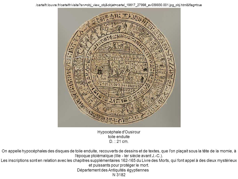 Hypocéphale d'Ousirour toile enduite D. : 21 cm. On appelle hypocéphales des disques de toile enduite, recouverts de dessins et de textes, que l'on pl
