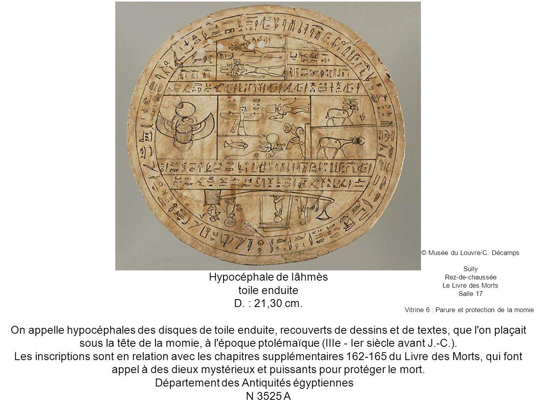 Hypocéphale de Iâhmès toile enduite D. : 21,30 cm. On appelle hypocéphales des disques de toile enduite, recouverts de dessins et de textes, que l'on
