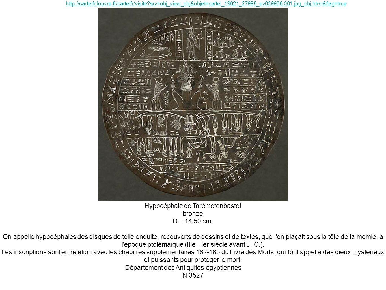 Hypocéphale de Tarémetenbastet bronze D. : 14,50 cm. On appelle hypocéphales des disques de toile enduite, recouverts de dessins et de textes, que l'o
