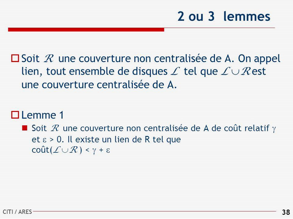 CITI / ARES 38 2 ou 3 lemmes Soit R une couverture non centralisée de A.