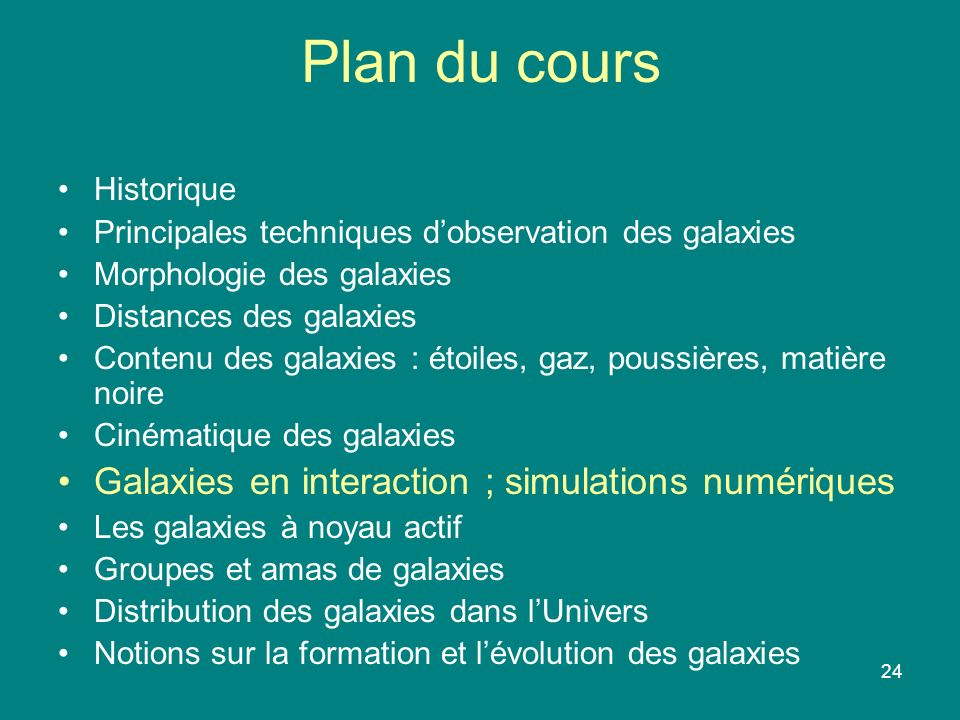 24 Plan du cours Historique Principales techniques dobservation des galaxies Morphologie des galaxies Distances des galaxies Contenu des galaxies : ét