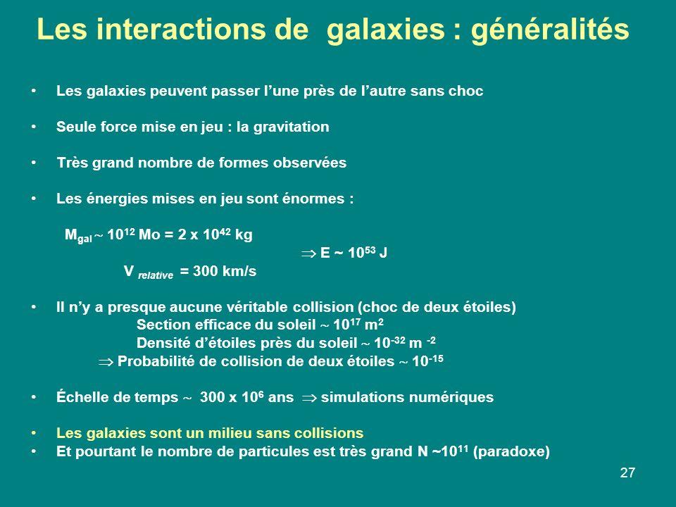 27 Les galaxies peuvent passer lune près de lautre sans choc Seule force mise en jeu : la gravitation Très grand nombre de formes observées Les énergi