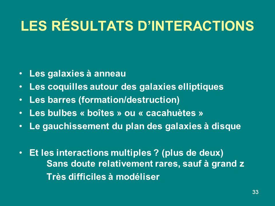 33 LES RÉSULTATS DINTERACTIONS Les galaxies à anneau Les coquilles autour des galaxies elliptiques Les barres (formation/destruction) Les bulbes « boî