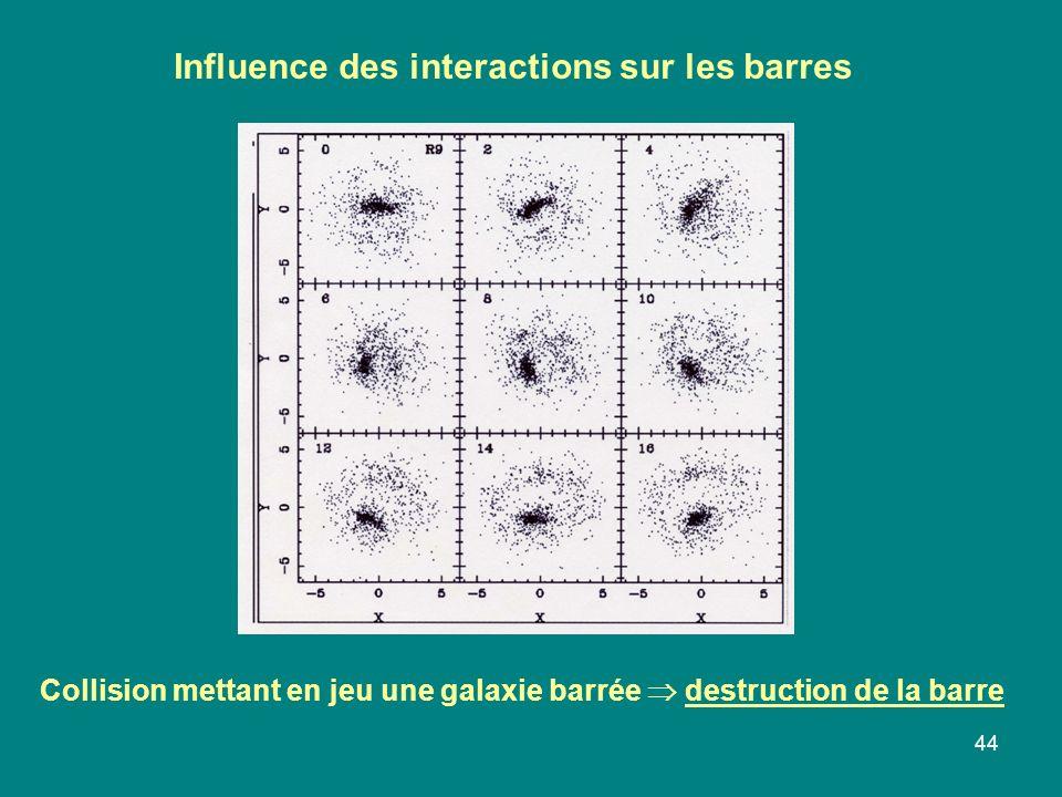 44 Collision mettant en jeu une galaxie barrée destruction de la barre Influence des interactions sur les barres