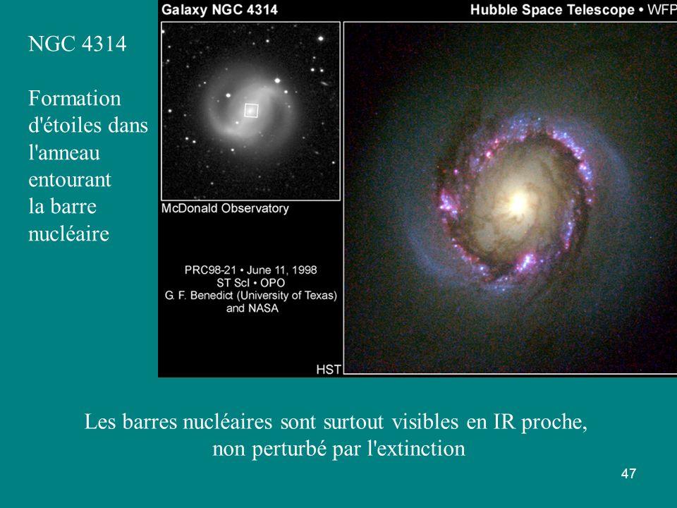 47 NGC 4314 Formation d'étoiles dans l'anneau entourant la barre nucléaire Les barres nucléaires sont surtout visibles en IR proche, non perturbé par