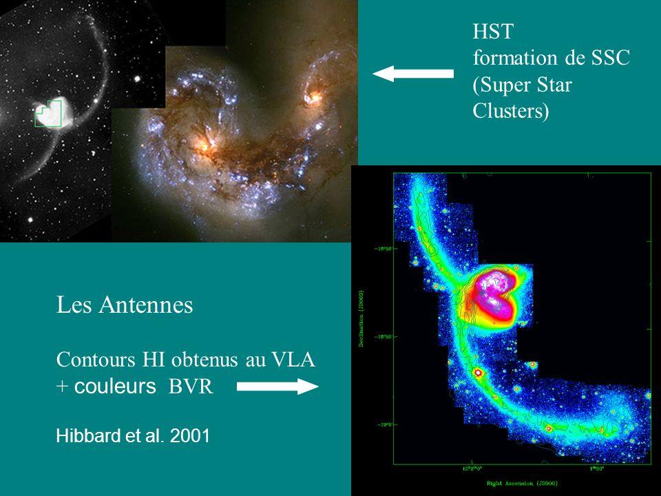 53 HST formation de SSC (Super Star Clusters) Les Antennes Contours HI obtenus au VLA + couleurs BVR Hibbard et al. 2001
