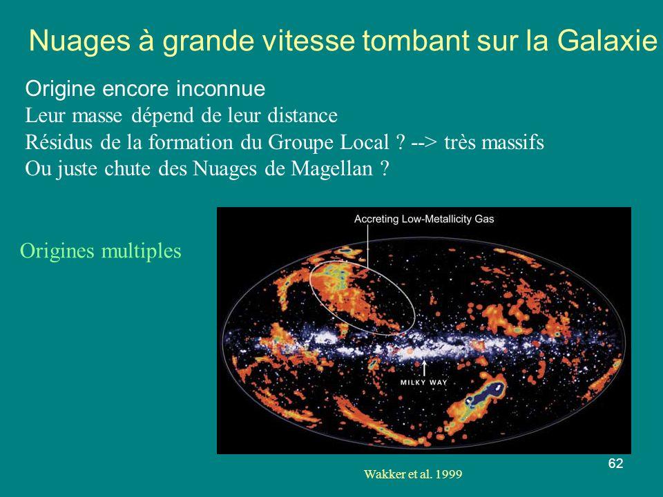 62 Nuages à grande vitesse tombant sur la Galaxie Origine encore inconnue Leur masse dépend de leur distance Résidus de la formation du Groupe Local ?