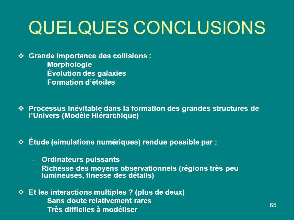 65 QUELQUES CONCLUSIONS Grande importance des collisions : Morphologie Évolution des galaxies Formation détoiles Processus inévitable dans la formatio