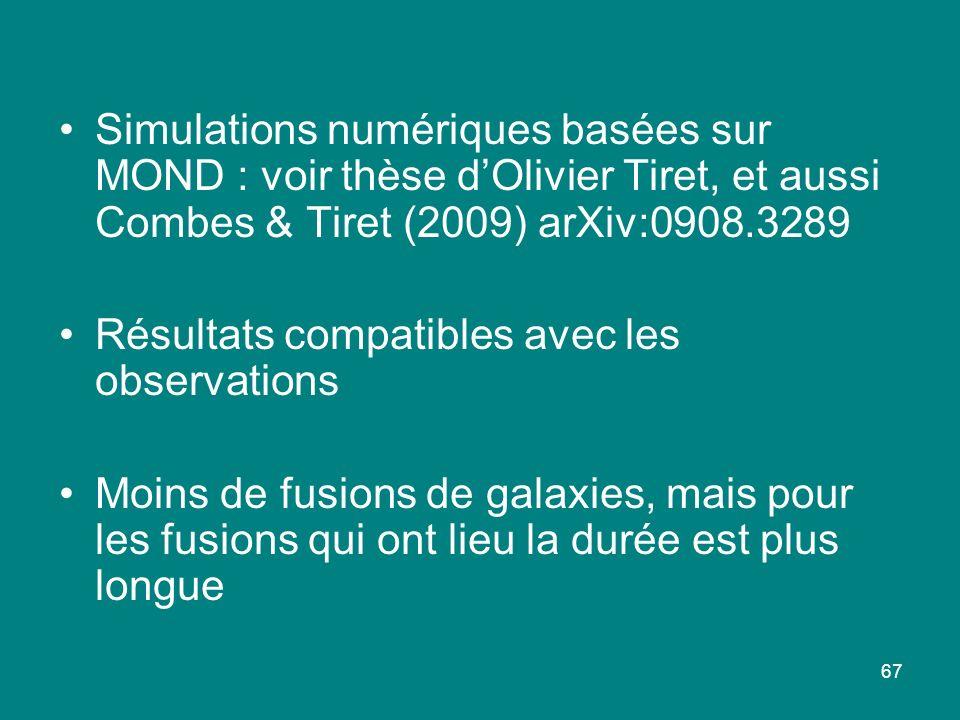 67 Simulations numériques basées sur MOND : voir thèse dOlivier Tiret, et aussi Combes & Tiret (2009) arXiv:0908.3289 Résultats compatibles avec les o