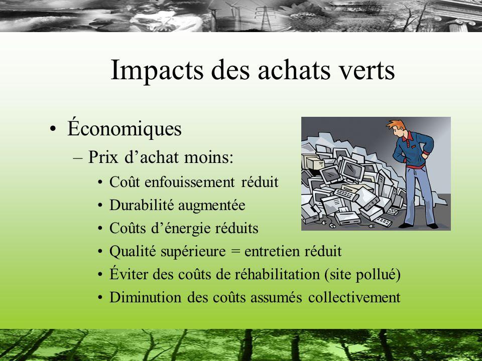 Impacts des achats verts Économiques –Prix dachat moins: Coût enfouissement réduit Durabilité augmentée Coûts dénergie réduits Qualité supérieure = en