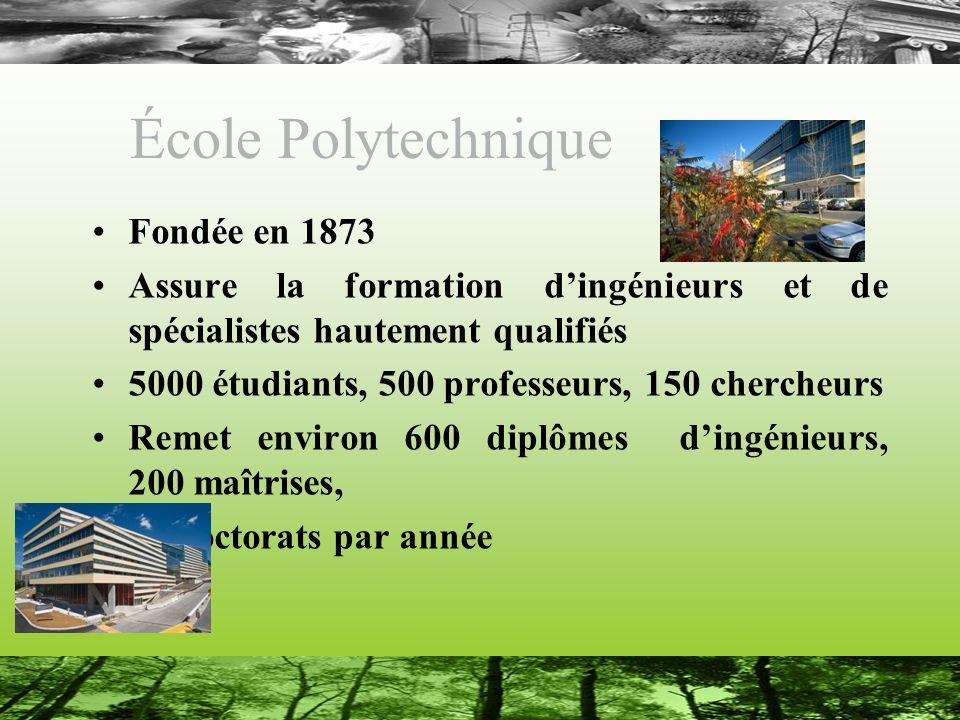 École Polytechnique Fondée en 1873 Assure la formation dingénieurs et de spécialistes hautement qualifiés 5000 étudiants, 500 professeurs, 150 cherche