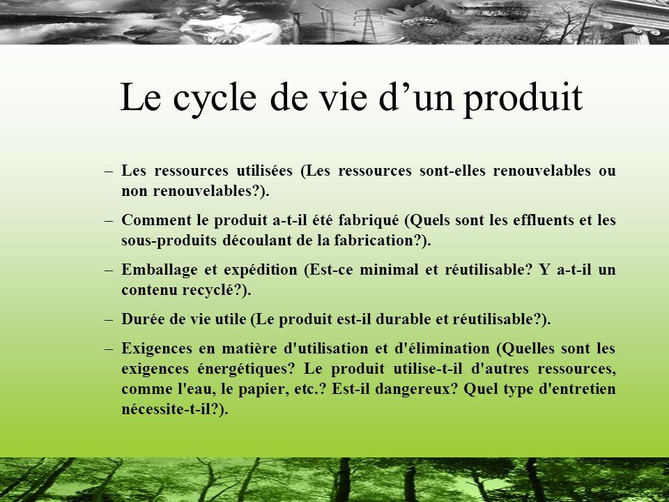Le cycle de vie dun produit –Les ressources utilisées (Les ressources sont-elles renouvelables ou non renouvelables?). –Comment le produit a-t-il été
