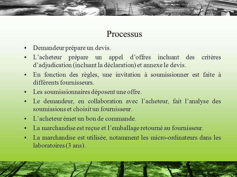 Processus Demandeur prépare un devis. Lacheteur prépare un appel doffres incluant des critères dadjudication (incluant la déclaration) et annexe le de