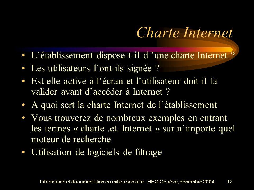 Information et documentation en milieu scolaire - HEG Genève, décembre 200412 Charte Internet Létablissement dispose-t-il d une charte Internet .