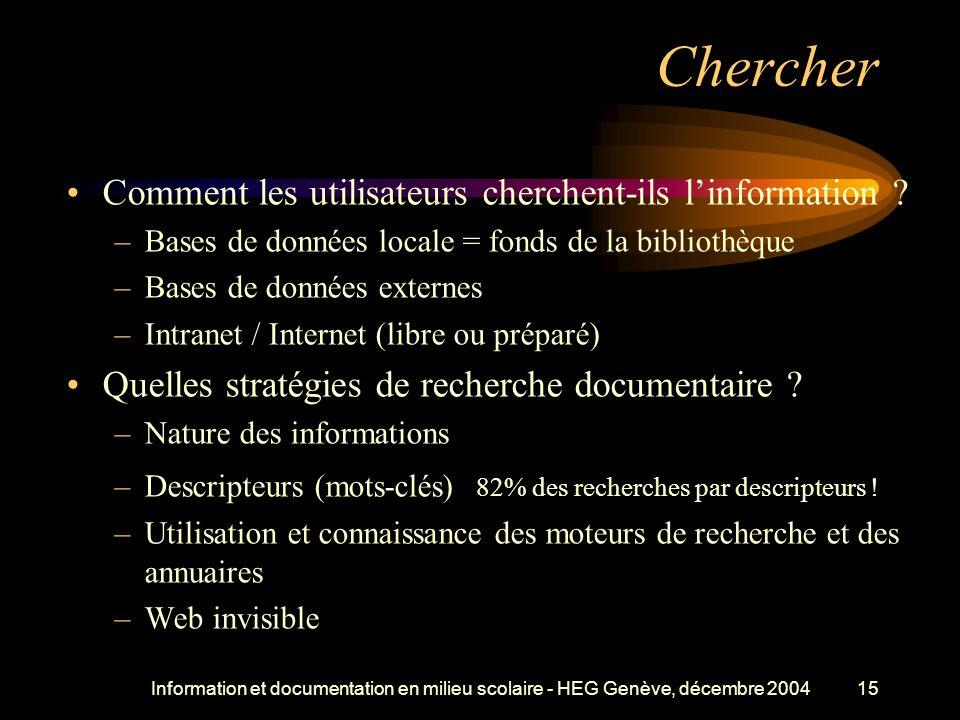 Information et documentation en milieu scolaire - HEG Genève, décembre 200415 Chercher Comment les utilisateurs cherchent-ils linformation .