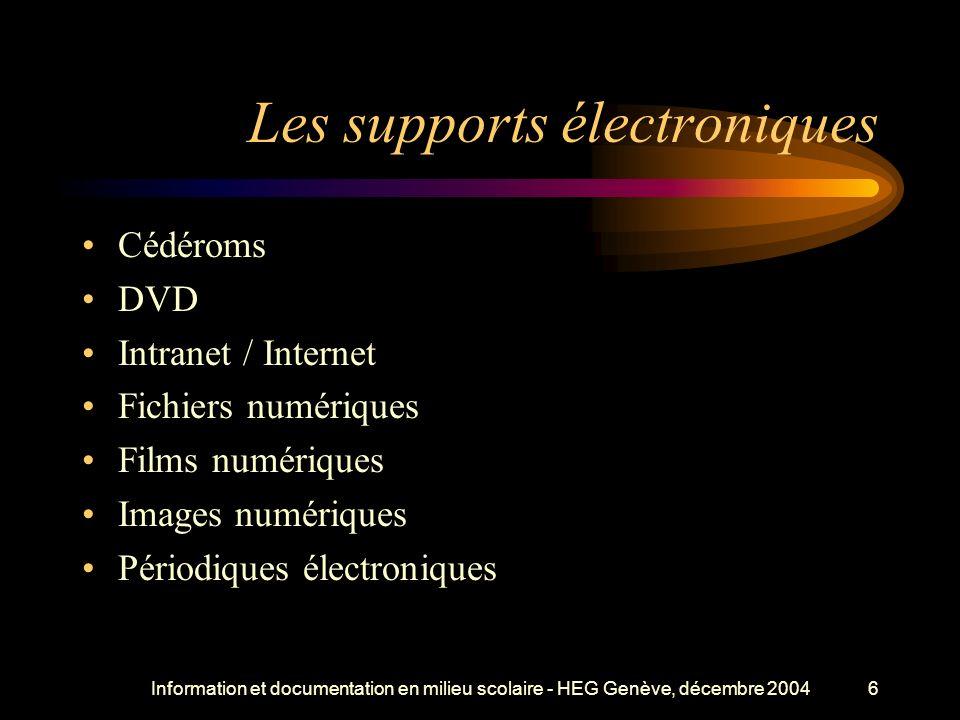 Information et documentation en milieu scolaire - HEG Genève, décembre 20046 Les supports électroniques Cédéroms DVD Intranet / Internet Fichiers numériques Films numériques Images numériques Périodiques électroniques