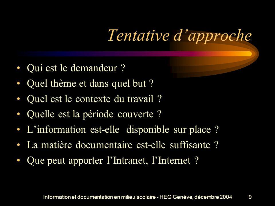 Information et documentation en milieu scolaire - HEG Genève, décembre 20049 Tentative dapproche Qui est le demandeur .