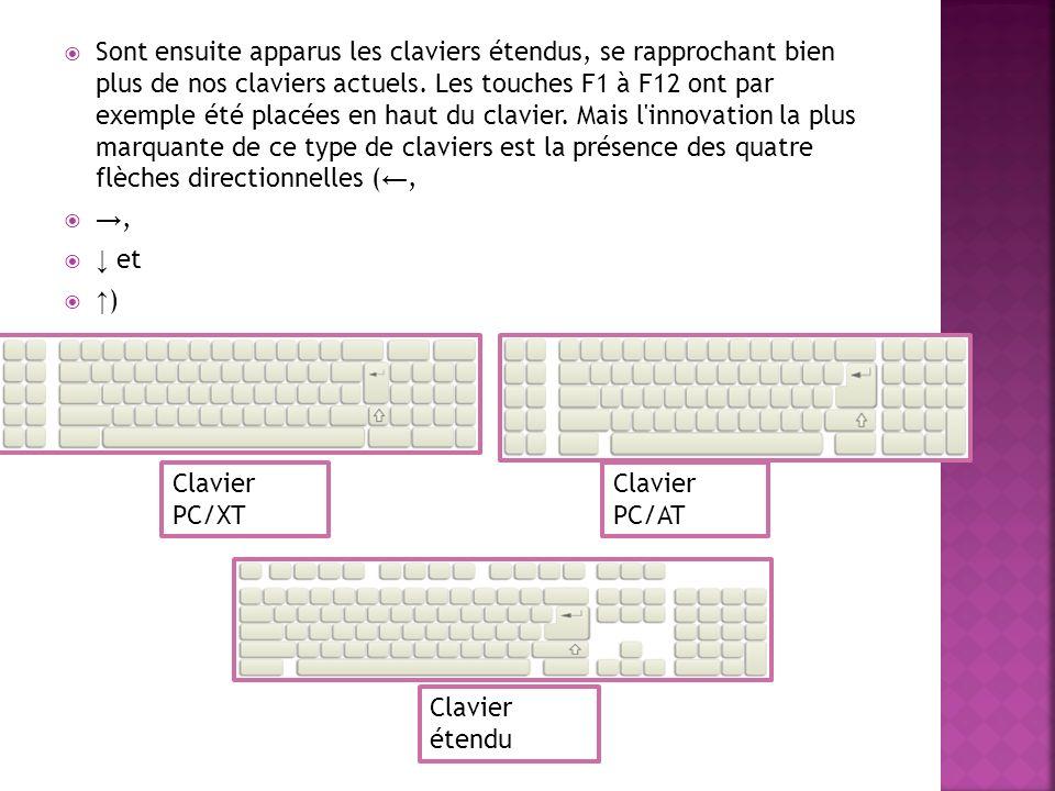 Claviers classiques: Au fil des années, la disposition générale des touches a perduré, mais plusieurs types de clavier se sont succédés.
