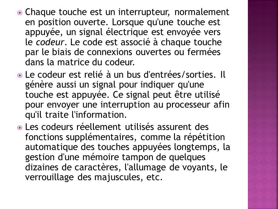 Lorsqu une touche est pressée, un contact électrique s établit entre la ligne et la colonne.