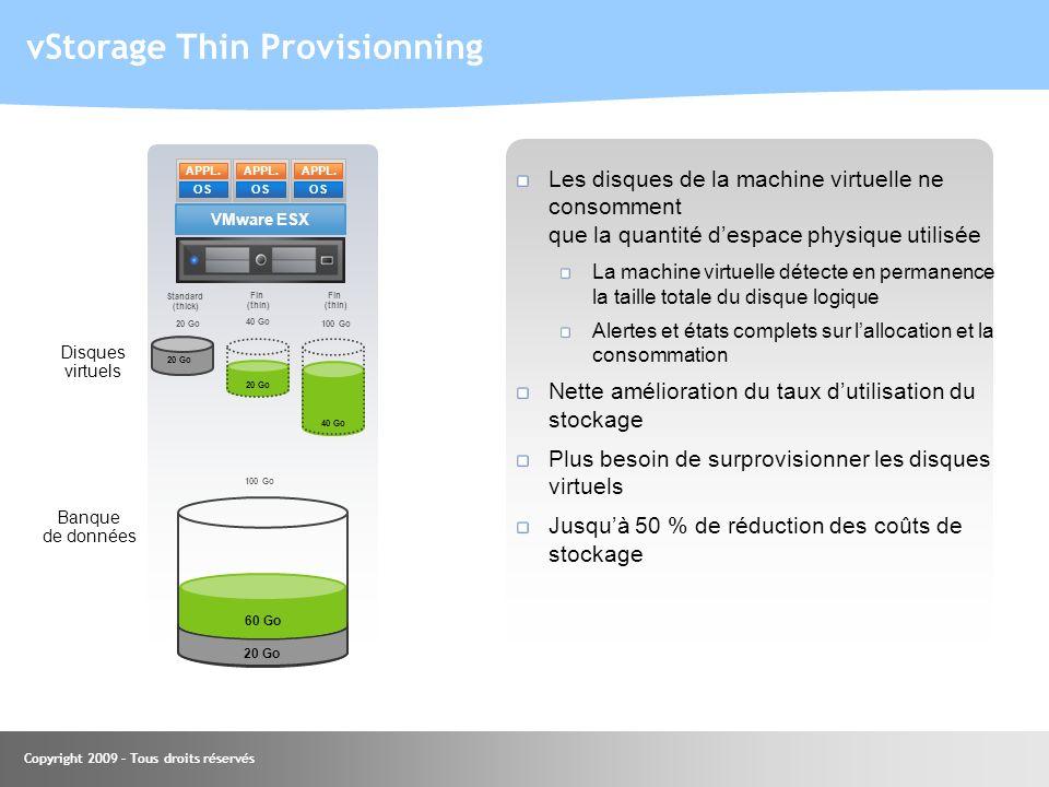 Les disques de la machine virtuelle ne consomment que la quantité despace physique utilisée La machine virtuelle détecte en permanence la taille total