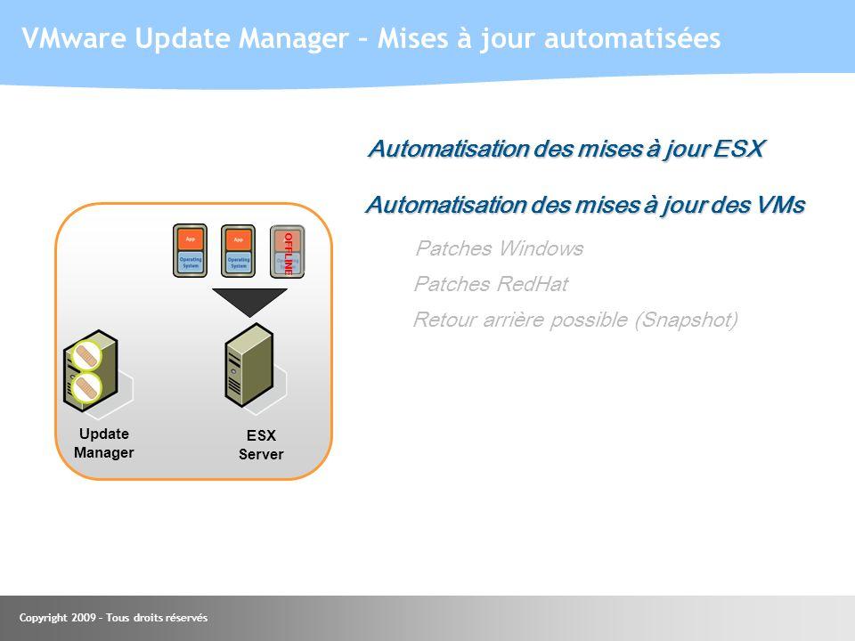Copyright 2009 – Tous droits réservés VMware Update Manager – Mises à jour automatisées Update Manager OFFLINE Automatisation des mises à jour ESX Aut