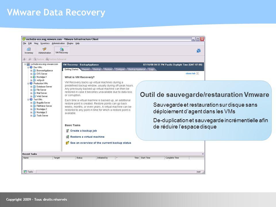 Copyright 2009 – Tous droits réservés Outil de sauvegarde/restauration Vmware Sauvegarde et restauration sur disque sans déploiement dagent dans les V