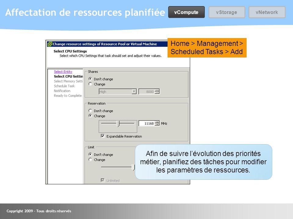 Copyright 2009 – Tous droits réservés Affectation de ressources planifiée Home > Management > Scheduled Tasks > Add Afin de suivre lévolution des prio