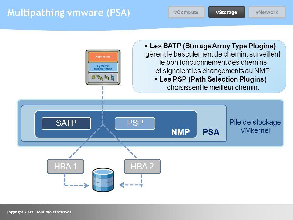 Copyright 2009 – Tous droits réservés Multipathing vmware (PSA) SATPPSP HBA 1HBA 2 NMPPSA Pile de stockage VMkernel Les SATP (Storage Array Type Plugi
