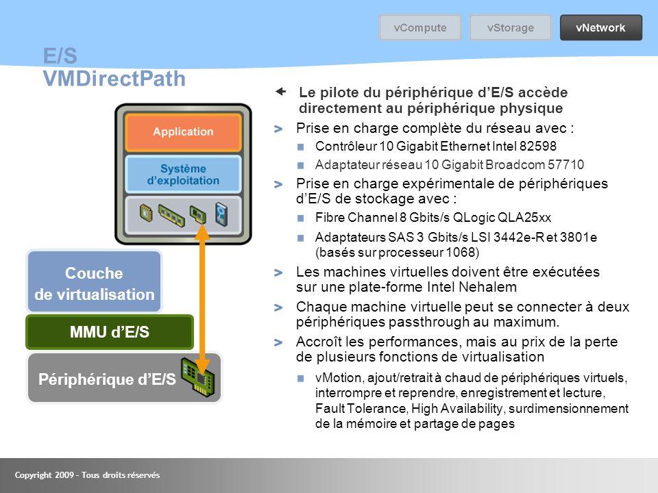 Copyright 2009 – Tous droits réservés E/S VMDirectPath Le pilote du périphérique dE/S accède directement au périphérique physique Prise en charge comp