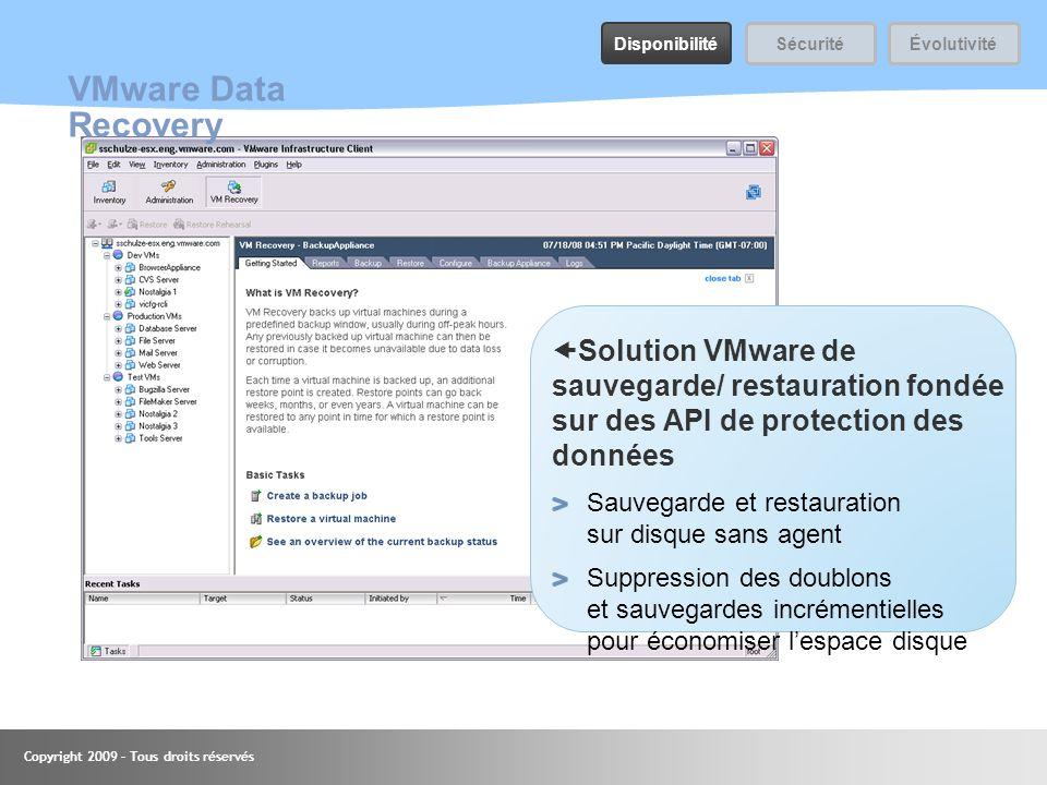 Copyright 2009 – Tous droits réservés 41 VMware Data Recovery Solution VMware de sauvegarde/ restauration fondée sur des API de protection des données