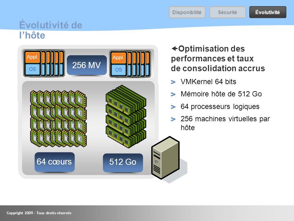 Copyright 2009 – Tous droits réservés 44 Évolutivité de lhôte Optimisation des performances et taux de consolidation accrus VMKernel 64 bits Mémoire h