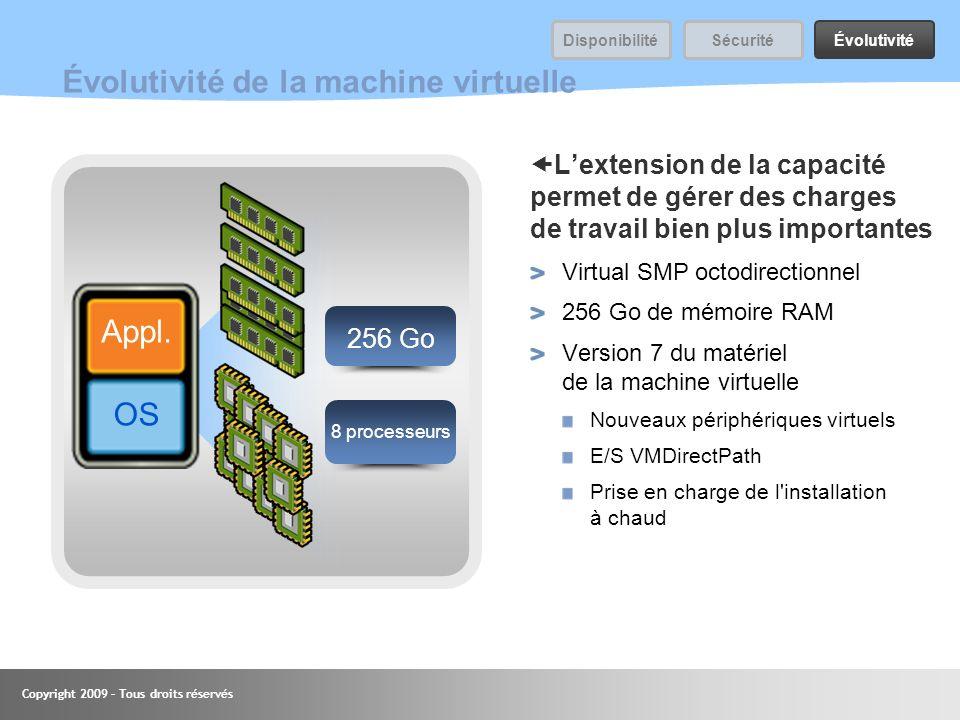Copyright 2009 – Tous droits réservés 45 Évolutivité de la machine virtuelle Lextension de la capacité permet de gérer des charges de travail bien plu