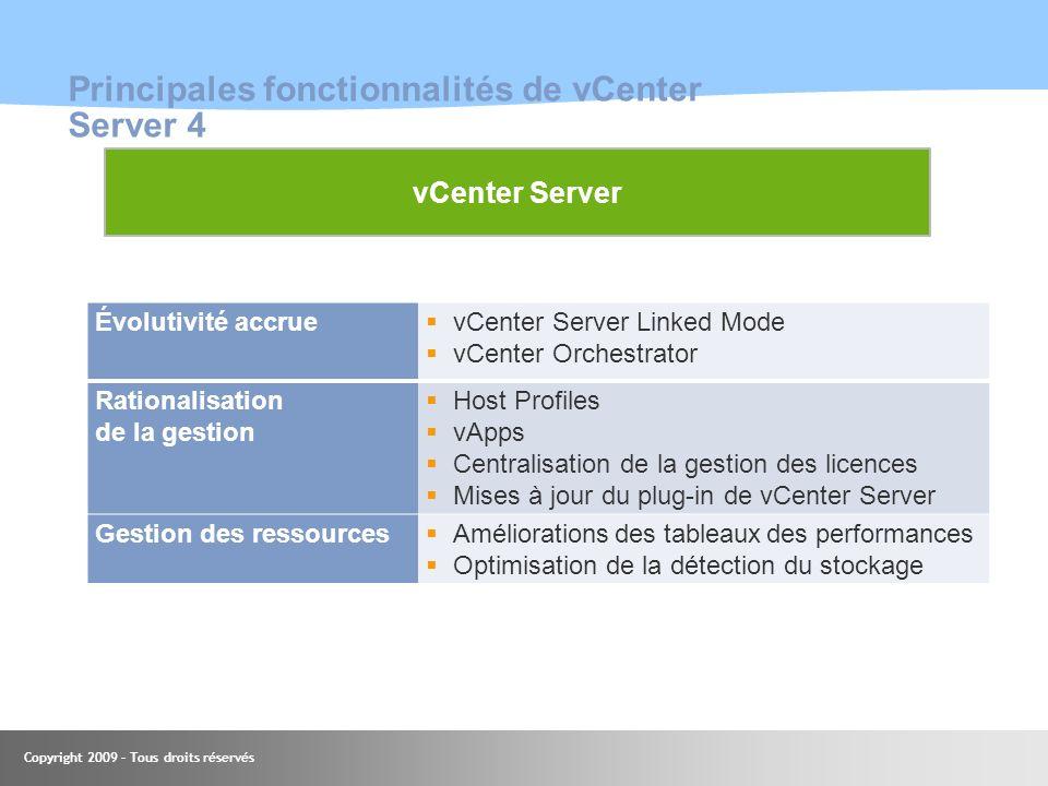 Copyright 2009 – Tous droits réservés Principales fonctionnalités de vCenter Server 4 Évolutivité accrue vCenter Server Linked Mode vCenter Orchestrat
