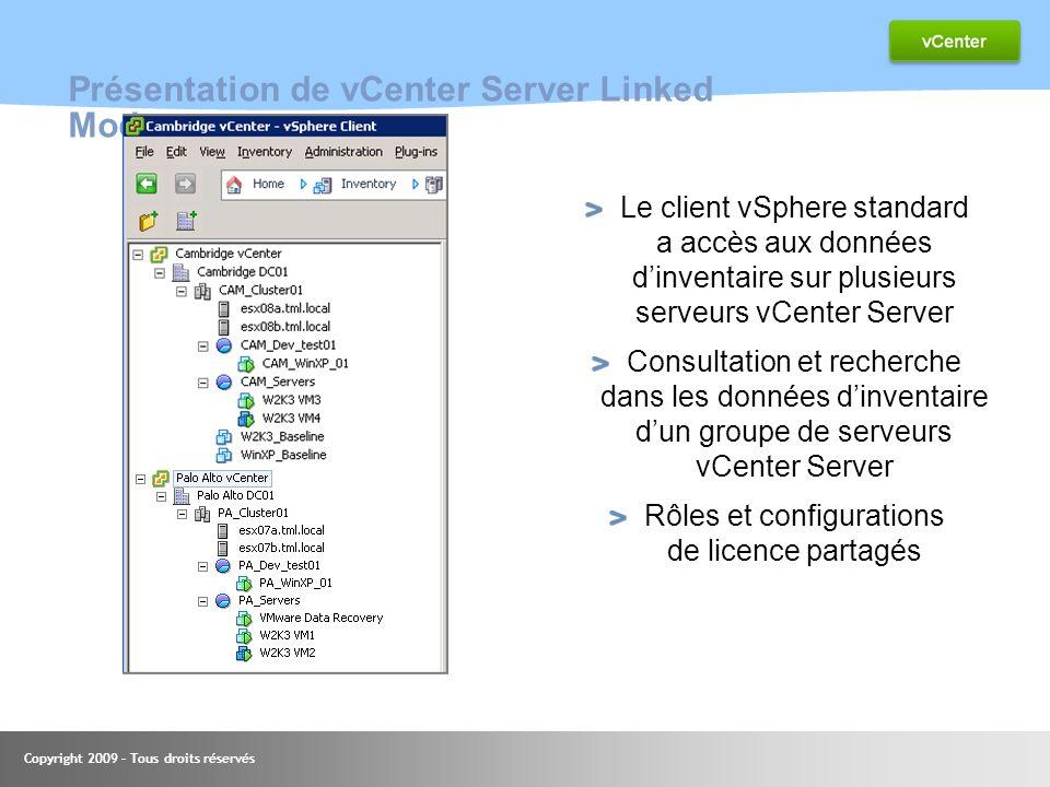 Copyright 2009 – Tous droits réservés Présentation de vCenter Server Linked Mode Le client vSphere standard a accès aux données dinventaire sur plusie
