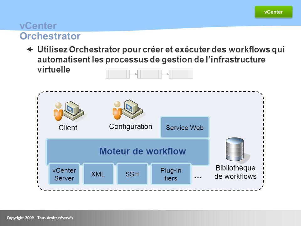 Copyright 2009 – Tous droits réservés vCenter Orchestrator Utilisez Orchestrator pour créer et exécuter des workflows qui automatisent les processus d