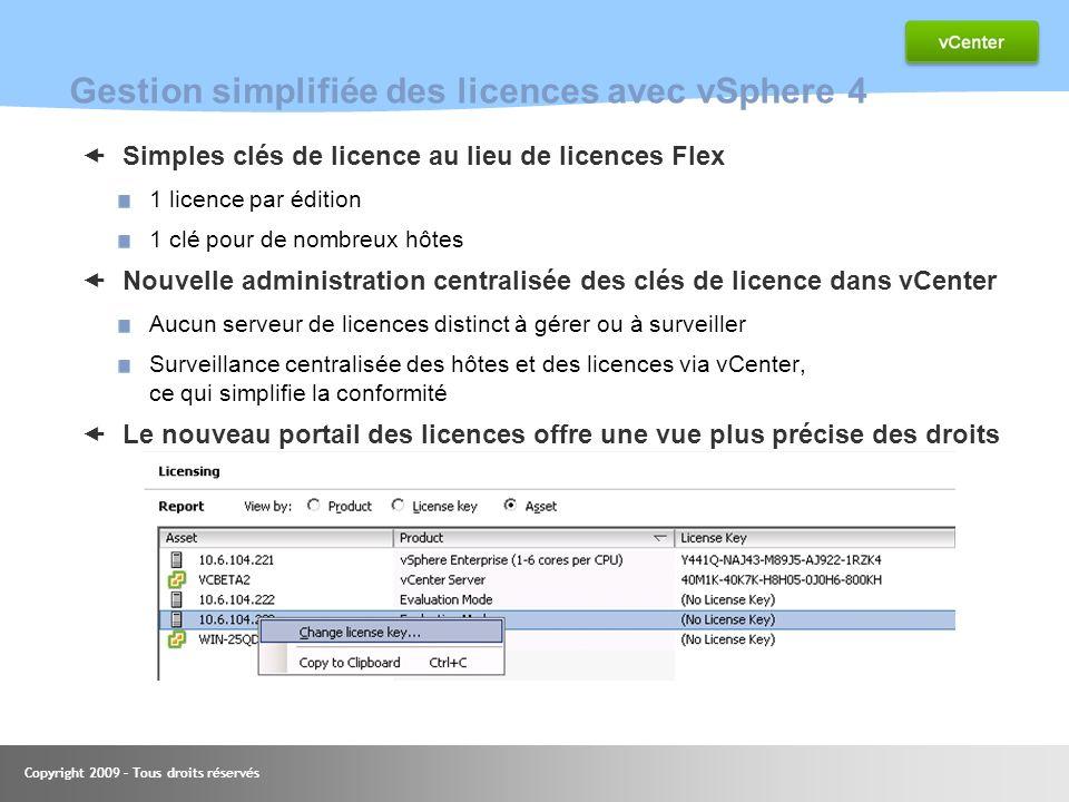 Copyright 2009 – Tous droits réservés Gestion simplifiée des licences avec vSphere 4 Simples clés de licence au lieu de licences Flex 1 licence par éd
