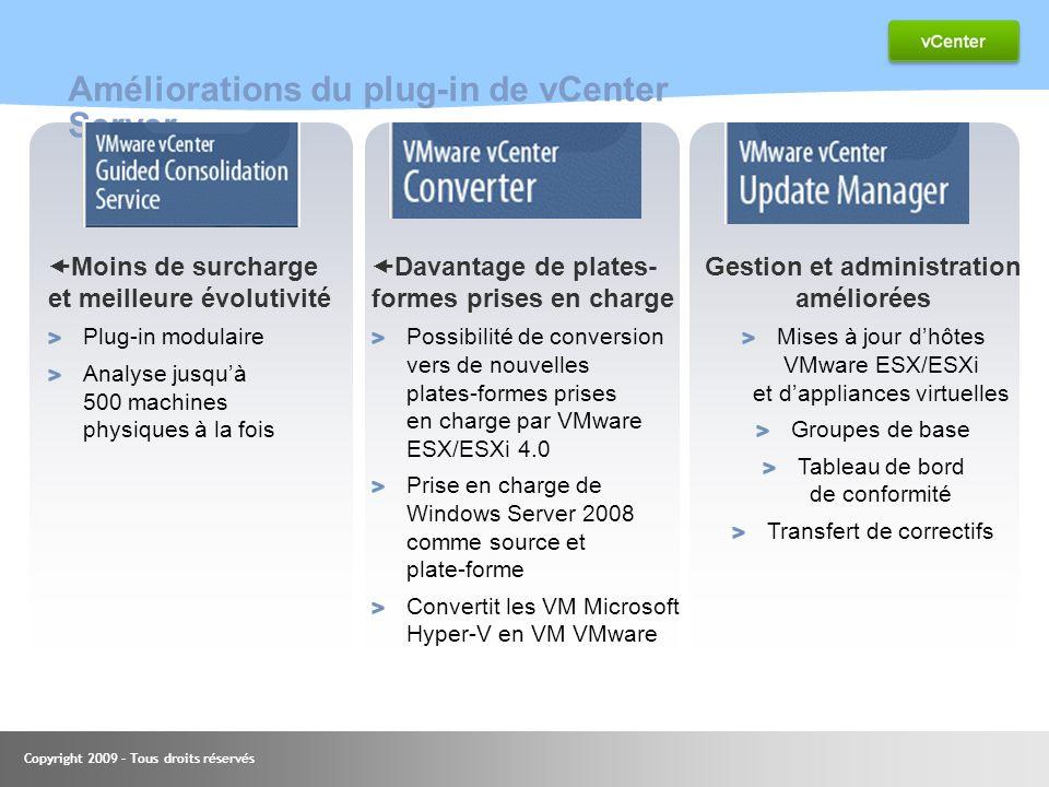 Copyright 2009 – Tous droits réservés Améliorations du plug-in de vCenter Server Moins de surcharge et meilleure évolutivité Plug-in modulaire Analyse