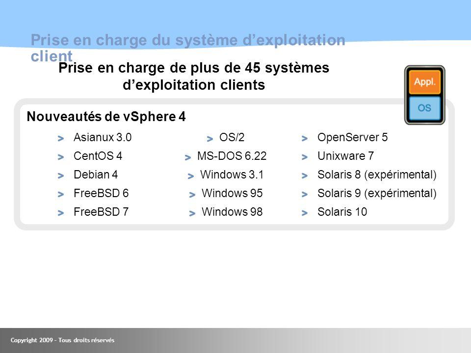 Copyright 2009 – Tous droits réservés 55 Prise en charge du système dexploitation client Asianux 3.0 CentOS 4 Debian 4 FreeBSD 6 FreeBSD 7 OpenServer