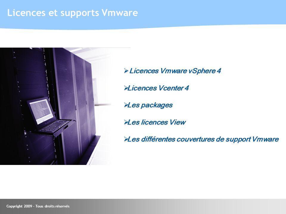 Copyright 2009 – Tous droits réservés Licences et supports Vmware Licences Vmware vSphere 4 Licences Vmware vSphere 4 Licences Vcenter 4 Licences Vcen