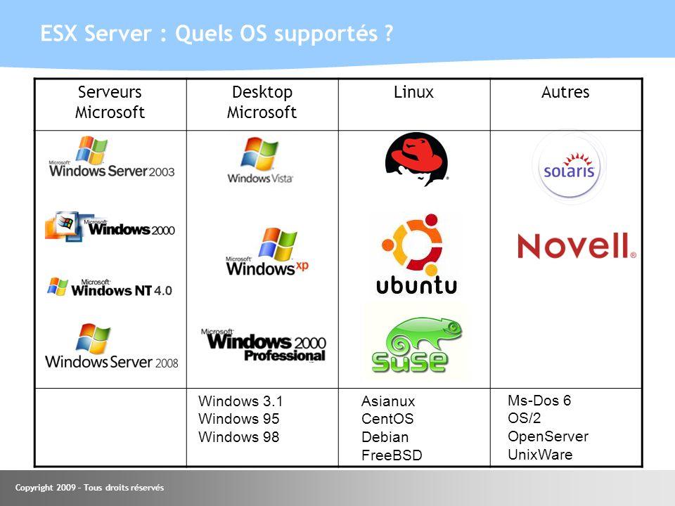 Copyright 2009 – Tous droits réservés ESX Server : Quels OS supportés ? Support experimental Serveurs Microsoft Desktop Microsoft LinuxAutres Windows