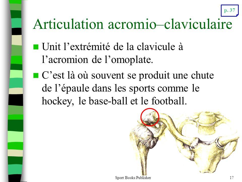 Sport Books Publisher17 Articulation acromio–claviculaire Unit lextrémité de la clavicule à lacromion de lomoplate. Cest là où souvent se produit une